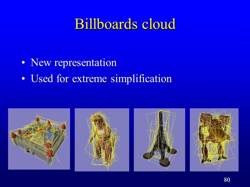 80 Billboards cloud New representation Used for extreme simplification