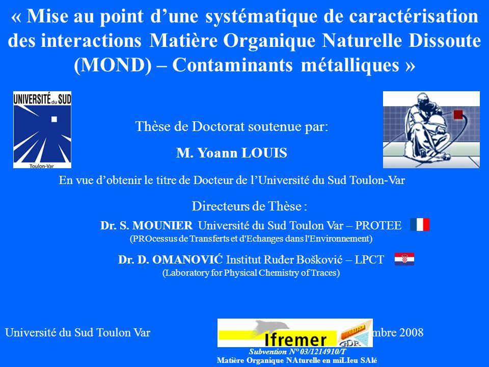 1 Directeurs de Thèse : Dr. S. MOUNIERUniversité du Sud Toulon Var – PROTEE (PROcessus de Transferts et d'Echanges dans l'Environnement) Dr. D. OMANOV