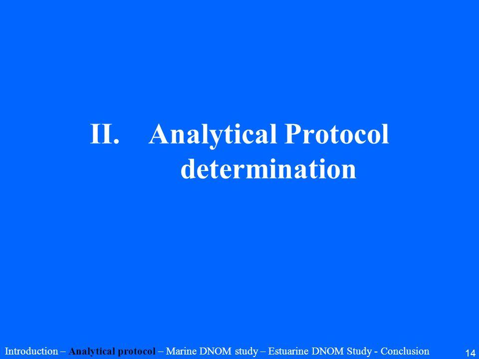 14 II.Analytical Protocol determination Introduction – Analytical protocol – Marine DNOM study – Estuarine DNOM Study - Conclusion