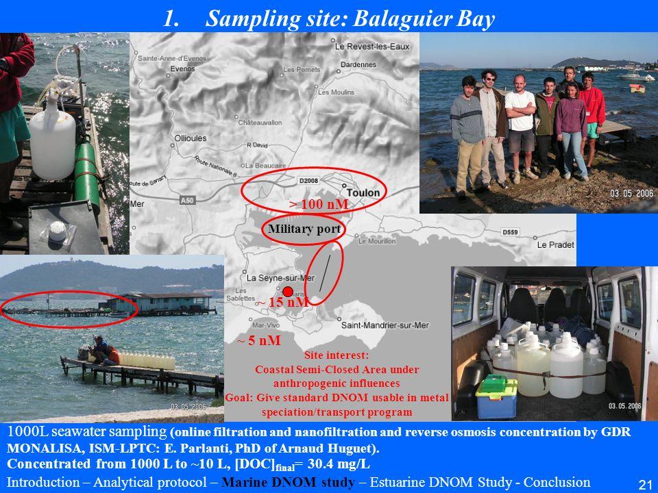 21 Military port 1.Sampling site: Balaguier Bay Introduction – Analytical protocol – Marine DNOM study – Estuarine DNOM Study - Conclusion 1000L seawa