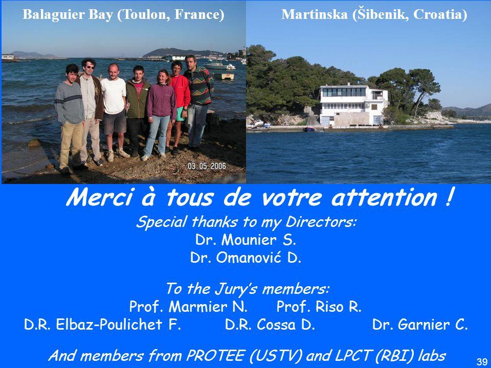 39 Martinska (Šibenik, Croatia)Balaguier Bay (Toulon, France) Merci à tous de votre attention ! Special thanks to my Directors: Dr. Mounier S. Dr. Oma