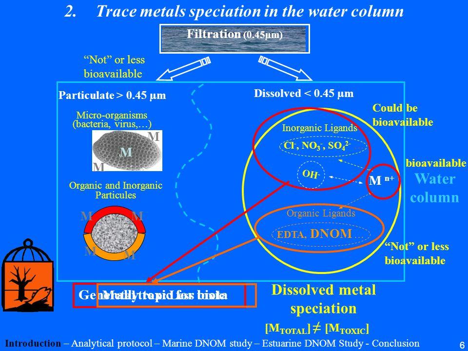 6 Generally toxic for biota M M M Micro-organisms (bacteria, virus,…) Organic and Inorganic Particules M n+ Inorganic Ligands Cl -, NO 3 -, SO 4 2- …