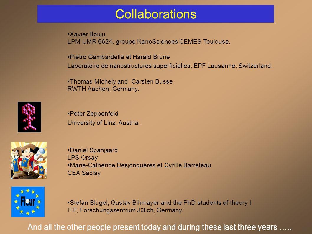 Collaborations Xavier Bouju LPM UMR 6624, groupe NanoSciences CEMES Toulouse.