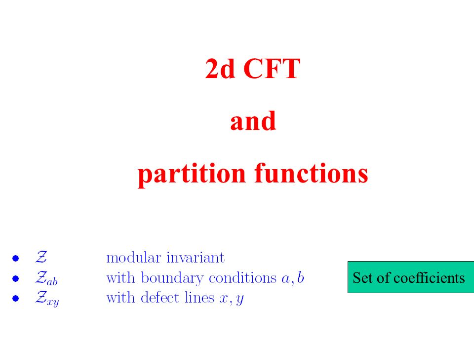 2d CFT and partition functions Set of coefficients