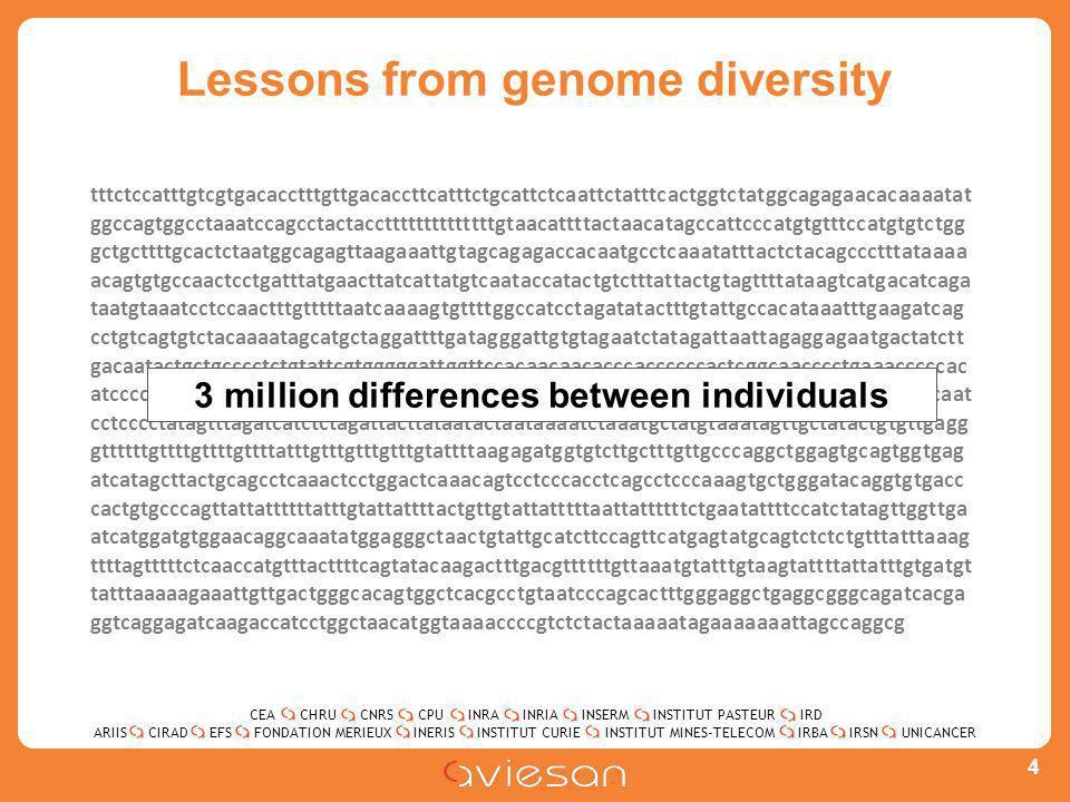 CEACHRUCNRSCPUINRAINRIAINSERMINSTITUT PASTEURIRD ARIISEFSINERISINSTITUT CURIEINSTITUT MINES-TELECOMUNICANCERIRBAIRSNCIRADFONDATION MERIEUX Lessons from genome diversity 4 tttctccatttgtcgtgacacctttgttgacaccttcatttctgcattctcaattctatttcactggtctatggcagagaacacaaaatat ggccagtggcctaaatccagcctactaccttttttttttttttgtaacattttactaacatagccattcccatgtgtttccatgtgtctgg gctgcttttgcactctaatggcagagttaagaaattgtagcagagaccacaatgcctcaaatatttactctacagccctttataaaa acagtgtgccaactcctgatttatgaacttatcattatgtcaataccatactgtctttattactgtagttttataagtcatgacatcaga taatgtaaatcctccaactttgtttttaatcaaaagtgttttggccatcctagatatactttgtattgccacataaatttgaagatcag cctgtcagtgtctacaaaatagcatgctaggattttgatagggattgtgtagaatctatagattaattagaggagaatgactatctt gacaatactgctgcccctctgtattcgtgggggattggttccacaacaacacccaccccccactcggcaacccctgaaacccccac atcccccagcttttttcccctgctaccaaaatccatggatgctcaagtccatataaaatgccatactatttgcatataacctctgcaat cctcccctatagtttagatcatctctagattacttataatactaataaaatctaaatgctatgtaaatagttgctatactgtgttgagg gttttttgttttgttttgttttatttgtttgtttgtttgtattttaagagatggtgtcttgctttgttgcccaggctggagtgcagtggtgag atcatagcttactgcagcctcaaactcctggactcaaacagtcctcccacctcagcctcccaaagtgctgggatacaggtgtgacc cactgtgcccagttattattttttatttgtattattttactgttgtattatttttaattattttttctgaatattttccatctatagttggttga atcatggatgtggaacaggcaaatatggagggctaactgtattgcatcttccagttcatgagtatgcagtctctctgtttatttaaag ttttagtttttctcaaccatgtttacttttcagtatacaagactttgacgttttttgttaaatgtatttgtaagtattttattatttgtgatgt tatttaaaaagaaattgttgactgggcacagtggctcacgcctgtaatcccagcactttgggaggctgaggcgggcagatcacga ggtcaggagatcaagaccatcctggctaacatggtaaaaccccgtctctactaaaaatagaaaaaaattagccaggcg 3 million differences between individuals