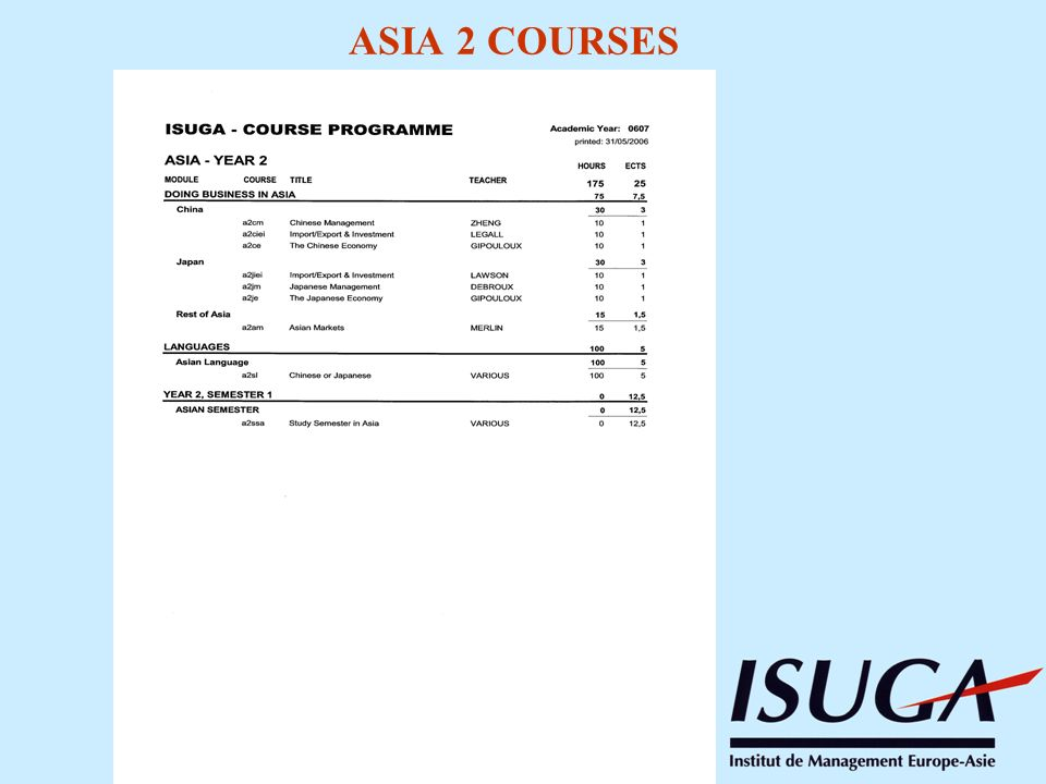 ASIA 2 COURSES