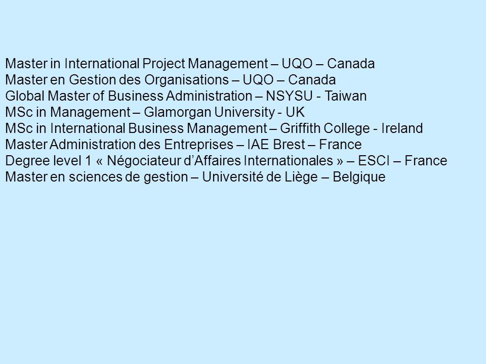 Master in International Project Management – UQO – Canada Master en Gestion des Organisations – UQO – Canada Global Master of Business Administration