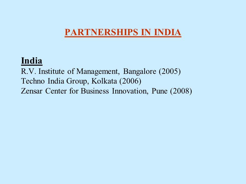 PARTNERSHIPS IN INDIA India R.V. Institute of Management, Bangalore (2005) Techno India Group, Kolkata (2006) Zensar Center for Business Innovation, P
