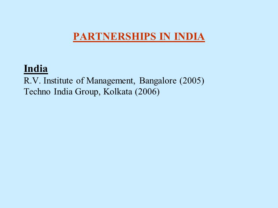 PARTNERSHIPS IN INDIA India R.V.