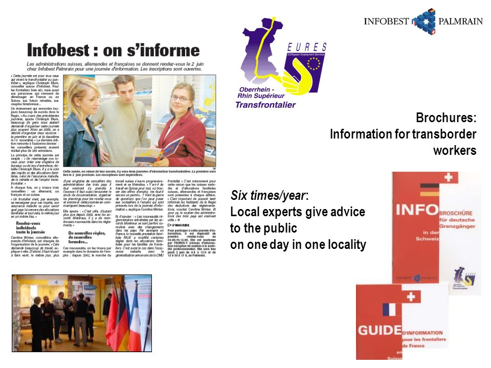 Six times/year : Local experts give advice to the public on one day in one locality Brochures: Information for transborder workers