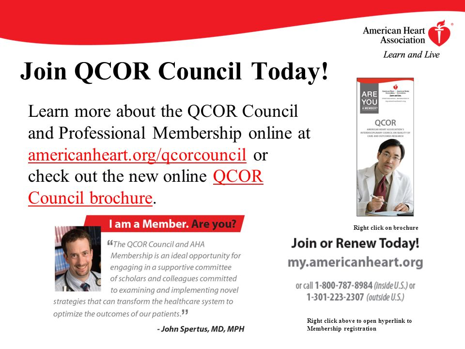 Join QCOR Council Today! Learn more about the QCOR Council and Professional Membership online at americanheart.org/qcorcouncil or check out the new on