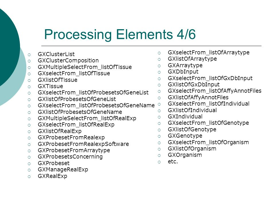 Processing Elements 4/6 GXClusterList GXClusterComposition GXMultipleSelectFrom_listOfTissue GXselectFrom_listOfTissue GXlistOfTissue GXTissue GXselec