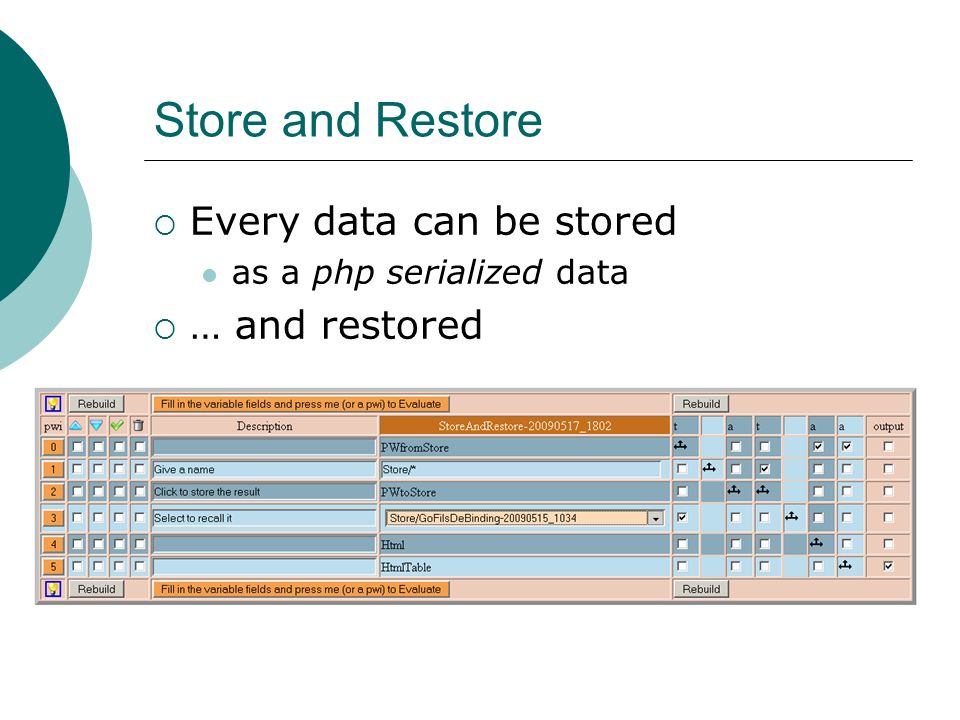 Store and Restore Every data can be stored as a php serialized data … and restored