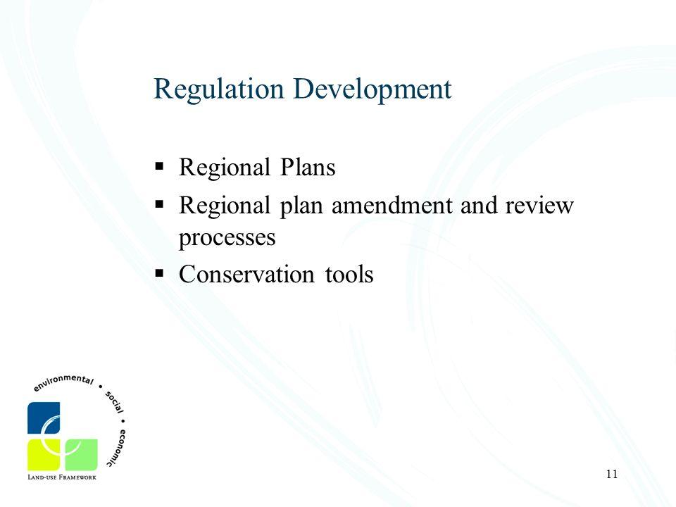 11 Regulation Development Regional Plans Regional plan amendment and review processes Conservation tools