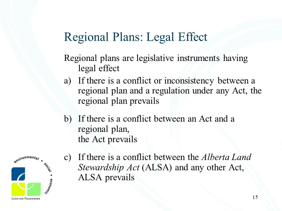 15 Regional Plans: Legal Effect Regional plans are legislative instruments having legal effect a)If there is a conflict or inconsistency between a reg
