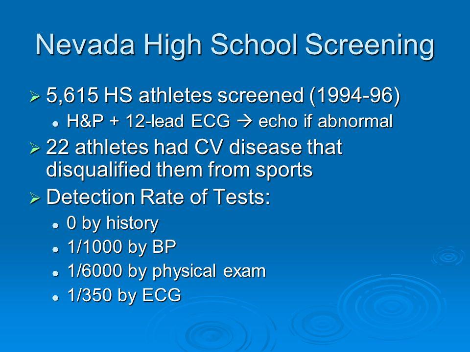 Nevada High School Screening 5,615 HS athletes screened (1994-96) 5,615 HS athletes screened (1994-96) H&P + 12-lead ECG echo if abnormal H&P + 12-lea