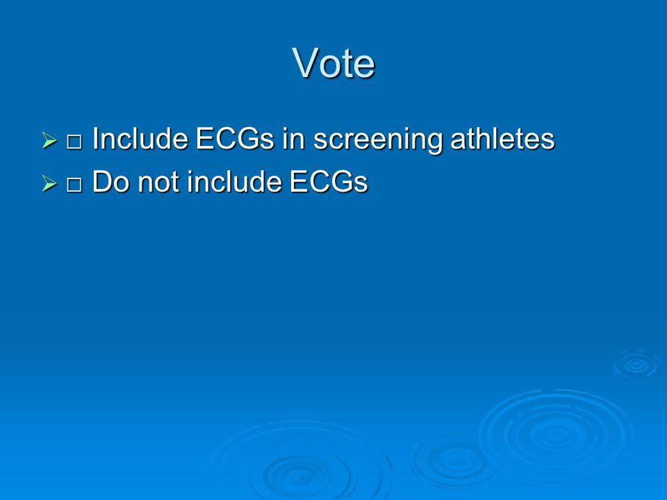 Vote Include ECGs in screening athletes Include ECGs in screening athletes Do not include ECGs Do not include ECGs
