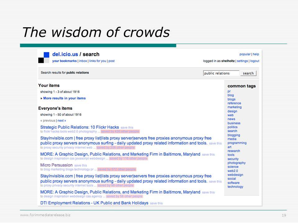www.forimmediaterelease.biz 19 The wisdom of crowds