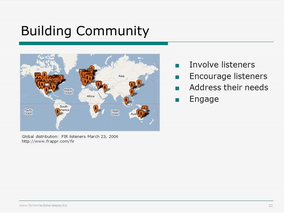 www.forimmediaterelease.biz 32 Building Community Involve listeners Encourage listeners Address their needs Engage Global distribution: FIR listeners