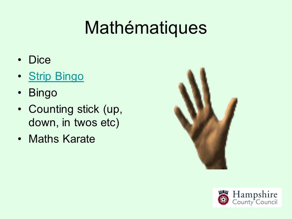 Mathématiques Dice Strip Bingo Bingo Counting stick (up, down, in twos etc) Maths Karate