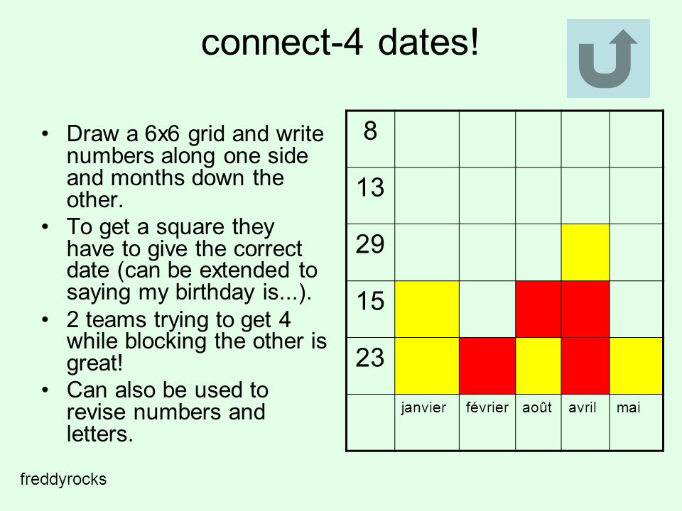 connect-4 dates. Draw a 6x6 grid and write numbers along one side and months down the other.