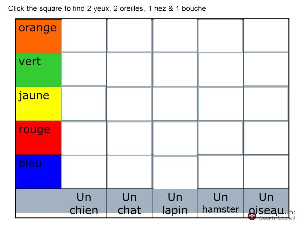 orange vert jaune rouge bleu Un chien Un chat Un lapin Un hamster Un oiseau Click the square to find 2 yeux, 2 oreilles, 1 nez & 1 bouche