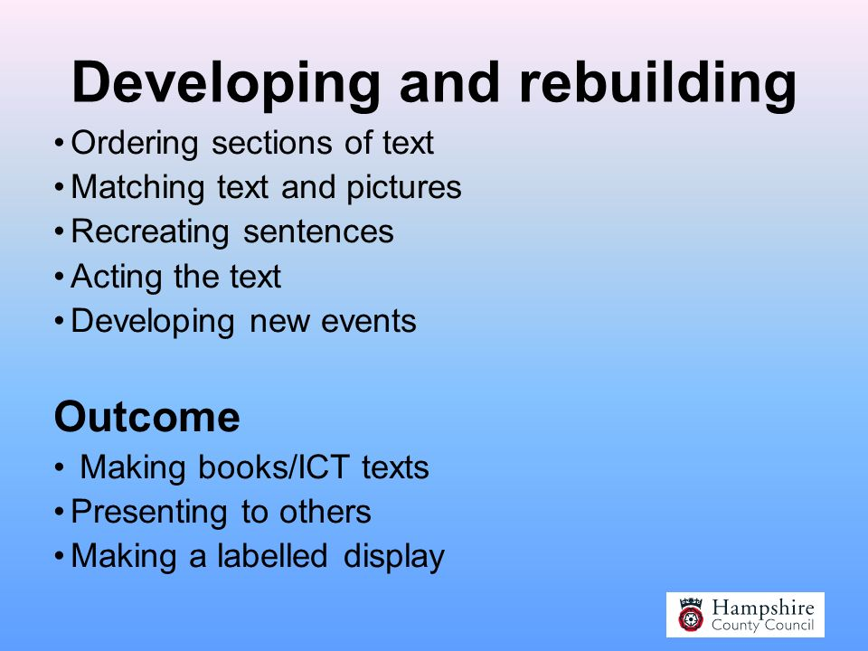 A Sequence of Teaching Listening, enjoying and involving the learner From text to sentence to word Developing and rebuilding Amending, adapting, recreating Outcome Performing, creating a new book, displays