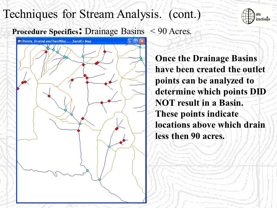 Techniques for Stream Analysis. (cont.) Procedure Specifics : Once the Drainage Basins have been created the outlet points can be analyzed to determin