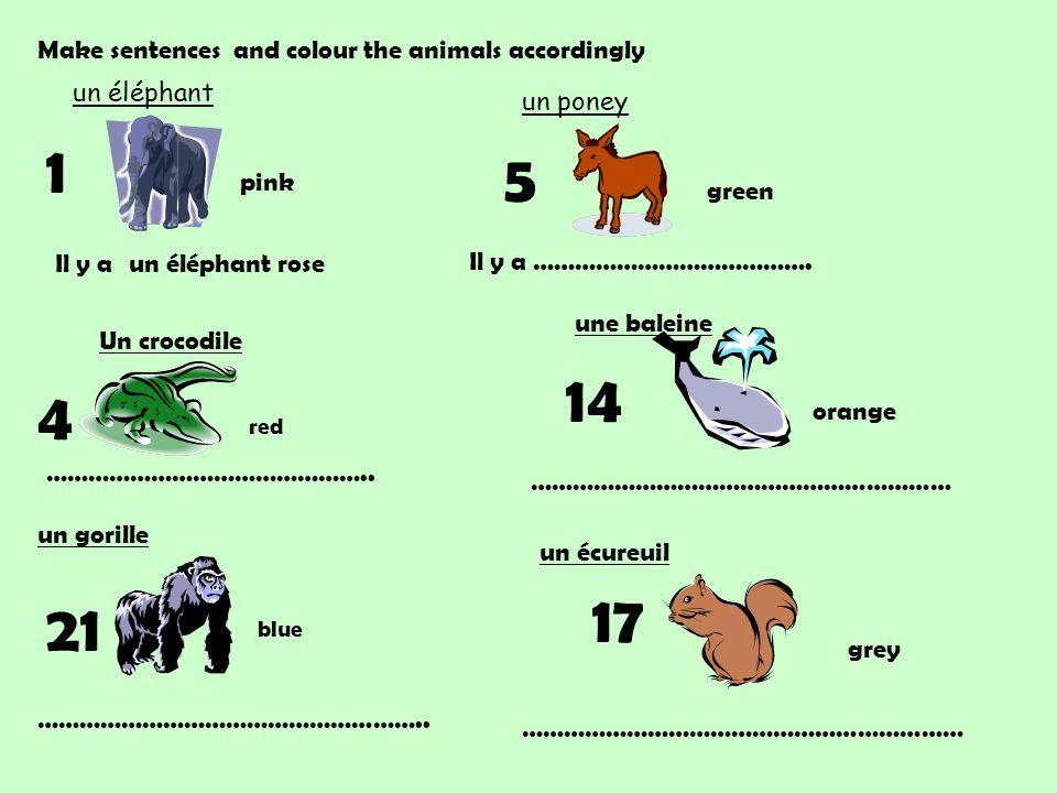Il y a un éléphant rose 1 un éléphant un poney 5 Il y a ………………………………….