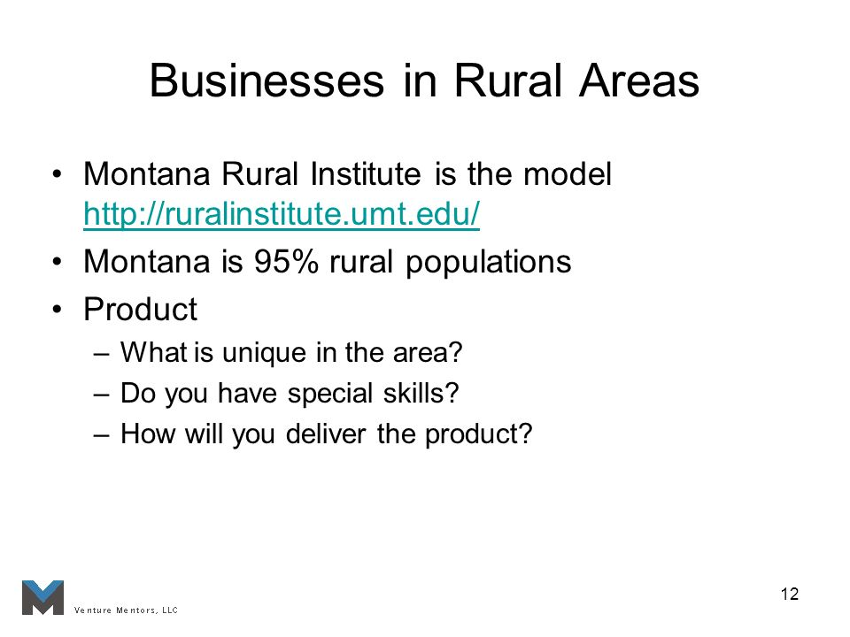 12 Businesses in Rural Areas Montana Rural Institute is the model http://ruralinstitute.umt.edu/ http://ruralinstitute.umt.edu/ Montana is 95% rural populations Product –What is unique in the area.