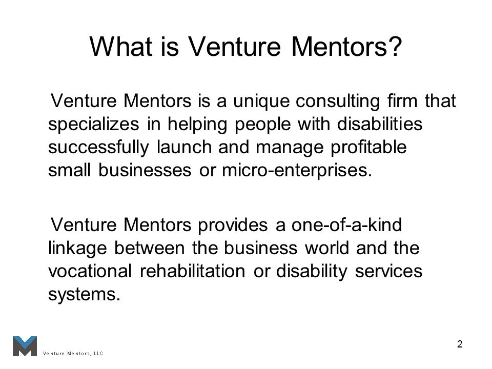 2 What is Venture Mentors? Venture Mentors is a unique consulting firm that specializes in helping people with disabilities successfully launch and ma