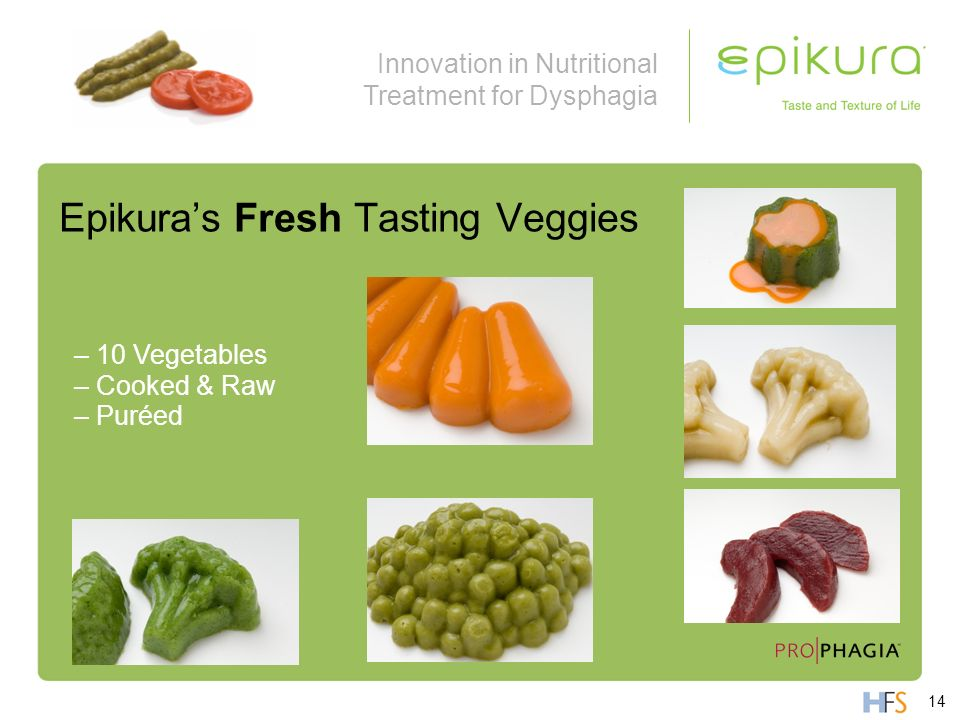 Innovation in Nutritional Treatment for Dysphagia Epikuras Fresh Tasting Veggies – 10 Vegetables – Cooked & Raw – Puréed 14
