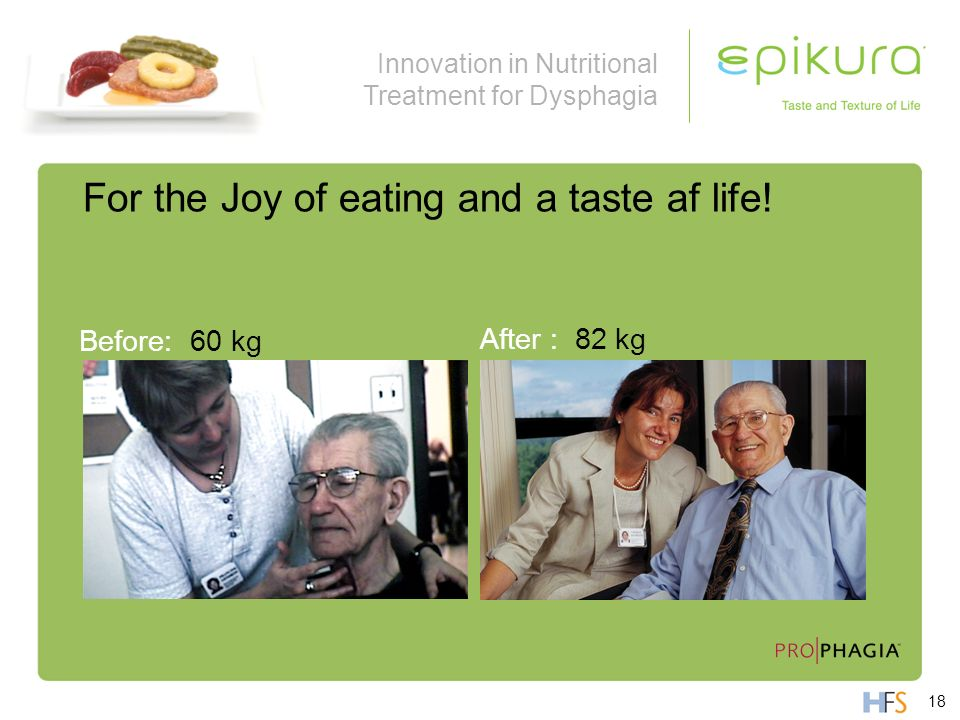 Innovation in Nutritional Treatment for Dysphagia For the Joy of eating and a taste af life! Before: 60 kg After : 82 kg 18