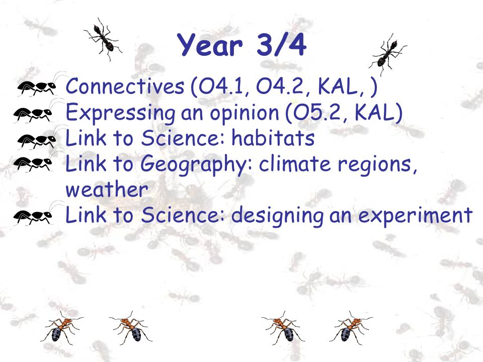 Year 3/4 Connectives (O4.1, O4.2, KAL, ) Expressing an opinion (O5.2, KAL) Link to Science: habitats Link to Geography: climate regions, weather Link