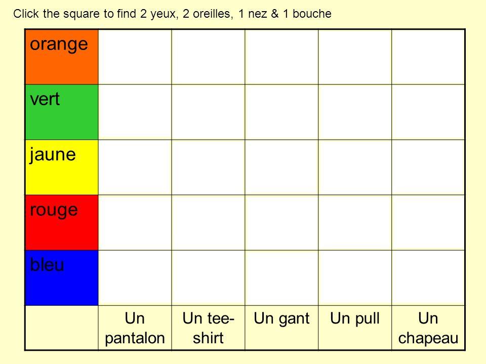 orange vert jaune rouge bleu Un pantalon Un tee- shirt Un gantUn pullUn chapeau Click the square to find 2 yeux, 2 oreilles, 1 nez & 1 bouche