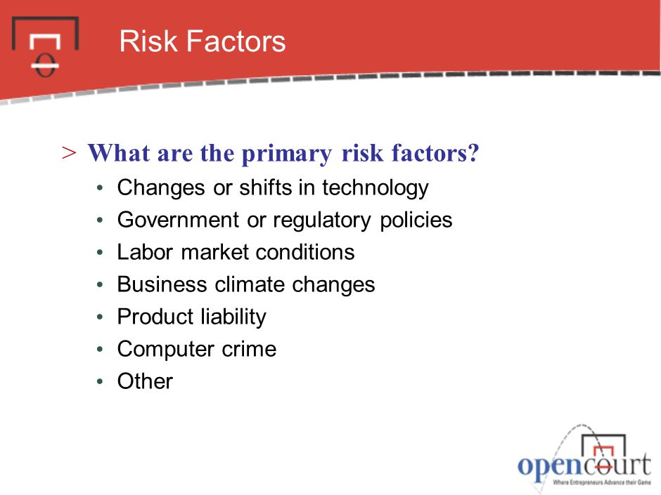 Risk Factors >What are the primary risk factors.