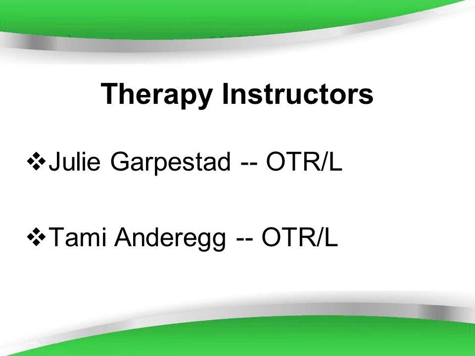 Powerpoint Templates Therapy Instructors Julie Garpestad -- OTR/L Tami Anderegg -- OTR/L