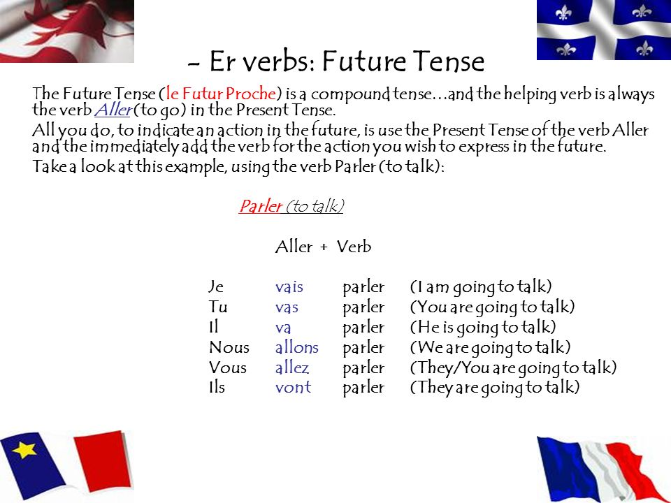 - Er verbs: Future Tense The Future Tense (le Futur Proche) is a compound tense…and the helping verb is always the verb Aller (to go) in the Present T
