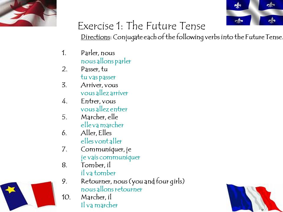 Exercise 1: The Future Tense Directions: Conjugate each of the following verbs into the Future Tense. 1.Parler, nous nous allons parler 2.Passer, tu t