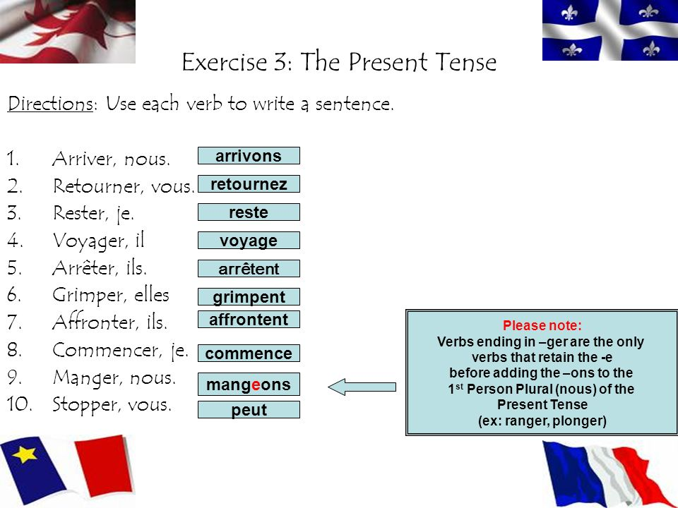 Exercise 3: The Present Tense Directions: Use each verb to write a sentence.