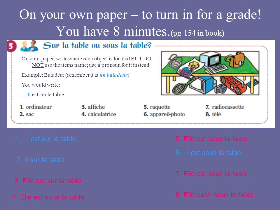 On your own paper – to turn in for a grade! You have 8 minutes. (pg 154 in book) 2. Il sur la table. 1.Il est sur la table. 3. Elle est sur la table.