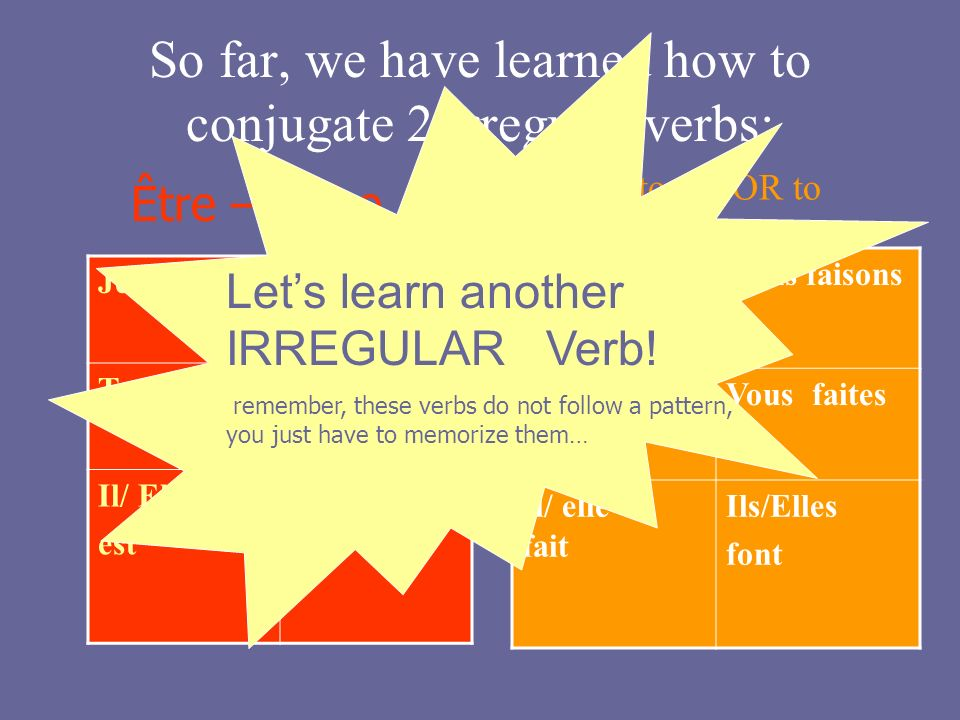 So far, we have learned how to conjugate 2 irregular verbs: Je suisNous sommes Tu esVous êtes Il/ Elle est Ils/Elles sont Être – to be Je faisNous fai