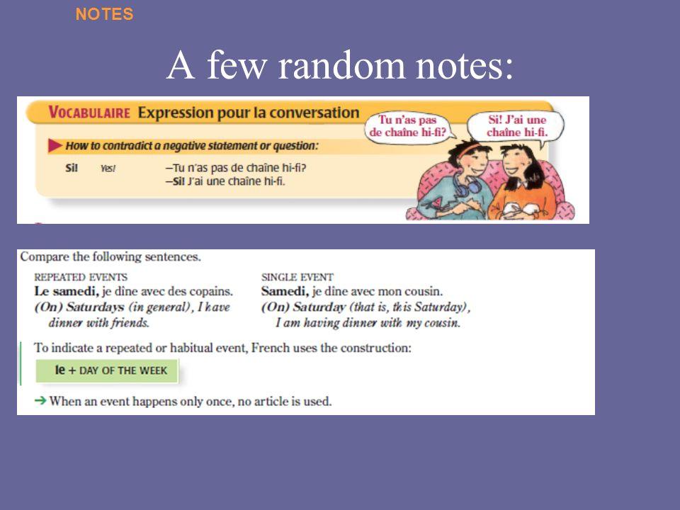 A few random notes: NOTES