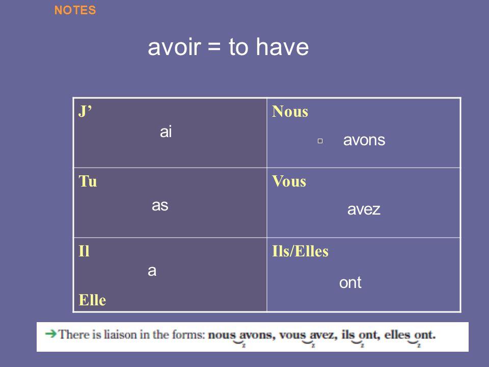 JNous TuVous Il Elle Ils/Elles ai as a avez ont avons avoir = to have NOTES