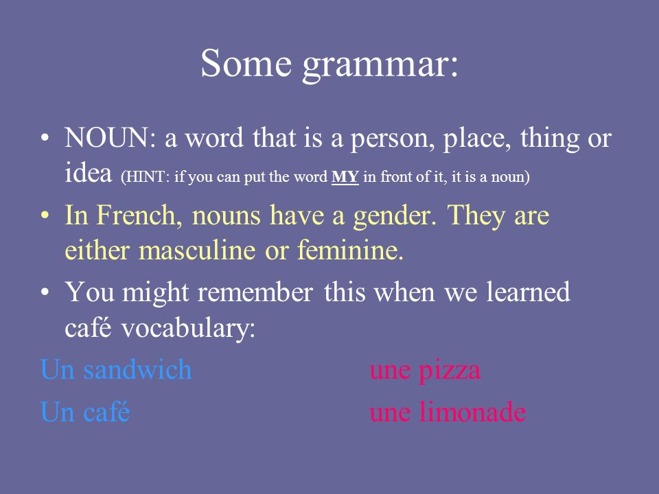 Some grammar: NOUN: a word that is a person, place, thing or idea (HINT: if you can put the word MY in front of it, it is a noun) In French, nouns have a gender.