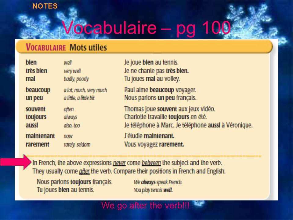 Vocabulaire – pg 100 NOTES We go after the verb!!!