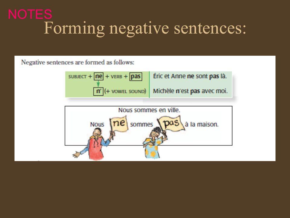 Forming negative sentences: NOTES