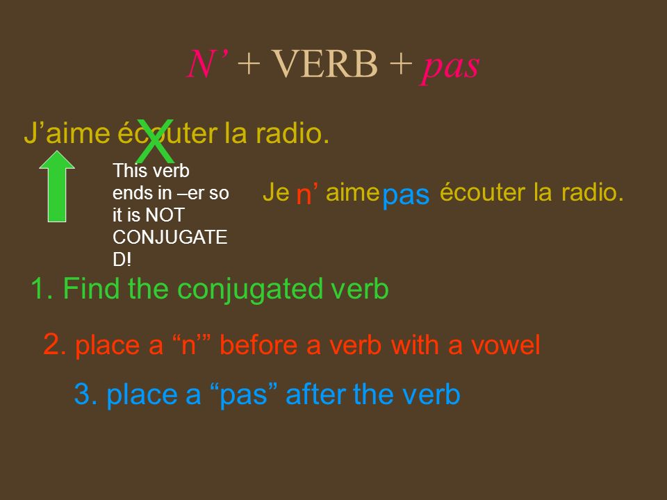 N + VERB + pas Jaime écouter la radio. 1. Find the conjugated verb n pas 2. place a n before a verb with a vowel 3. place a pas after the verb This ve