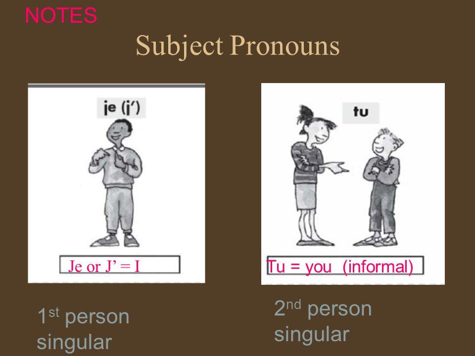 Subject Pronouns Je or J = I Tu = you (informal) NOTES 1 st person singular 2 nd person singular