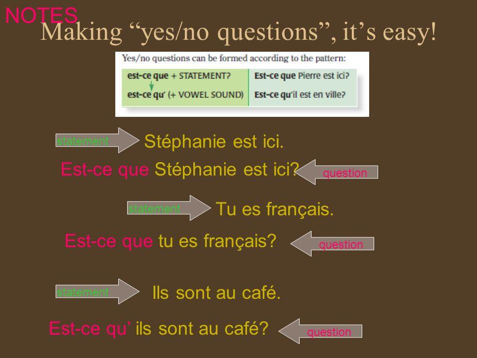 Making yes/no questions, its easy! Est-ce que Stéphanie est ici? Tu es français. Ils sont au café. Stéphanie est ici. questionstatement Est-ce que tu